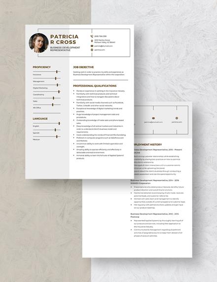 Business Development Representative Resume Download