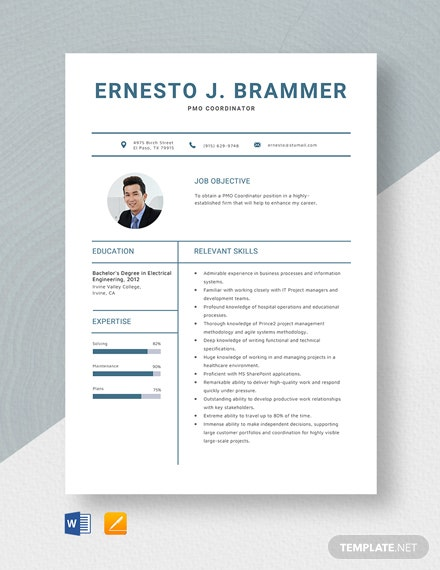PMO Coordinator Resume Template
