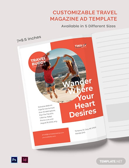 Customizable Travel Magazine ads Template