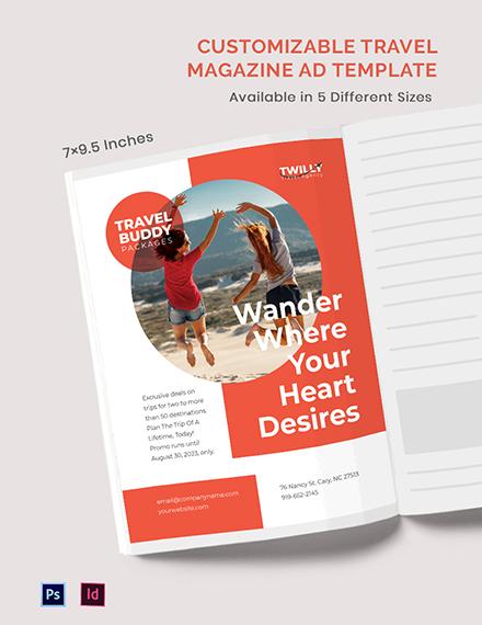 Free Customizable Travel Magazine ads Template