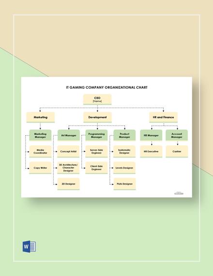 Free IT Gaming Company Organizational Chart Template