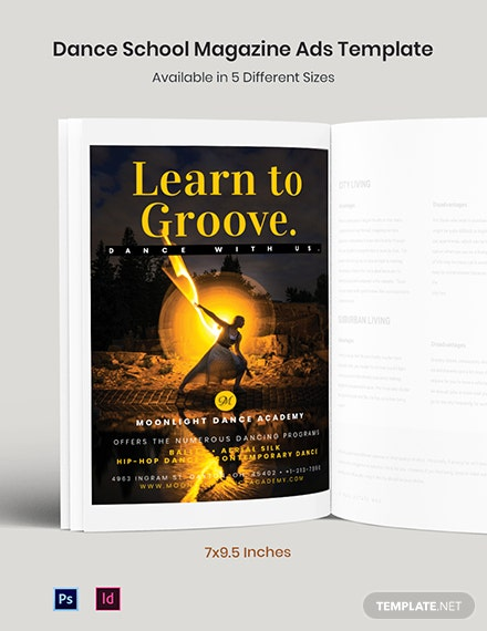 Free Dance School Magazine Ads Template