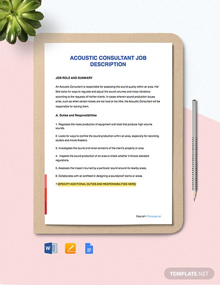 Free Acoustic Consultant Job Description Template