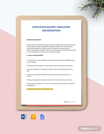 Free Application Security Consultant Job Description Template