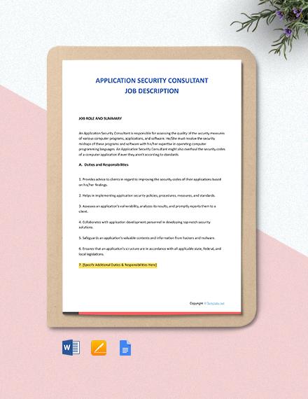Free Application Security Consultant Job Description Template