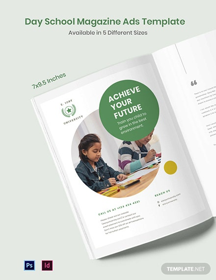 Free Day School Magazine Ads Template