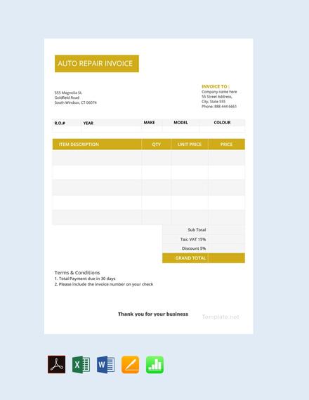 Free Auto Repair Invoice Template