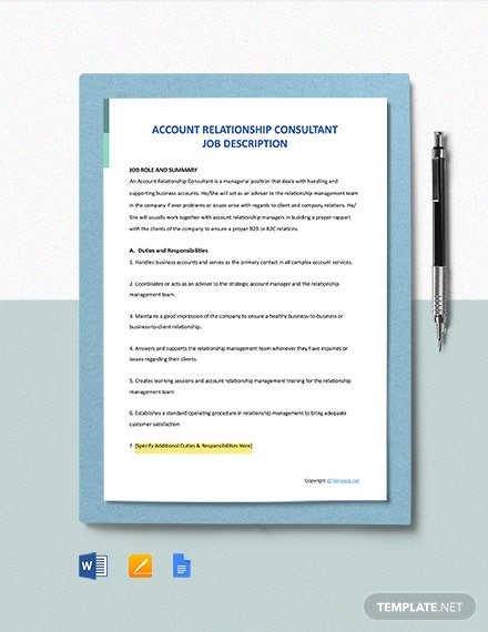 Free Account Relationship Consultant Job Description Template