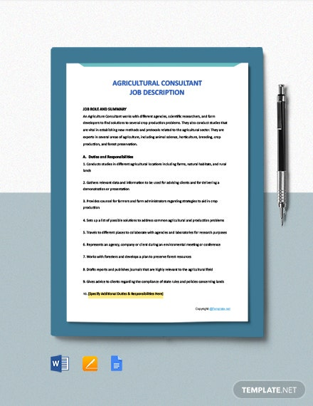 FREE Agricultural Consultant Job Ad/Description Template