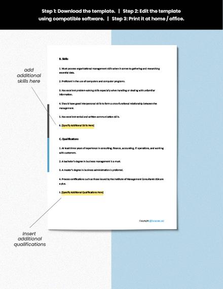 Free BPM Consultant Job Description download