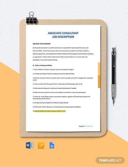 Free Associate Consultant Job Description Template