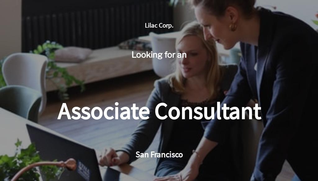 Associate Consultant Job Ad/Description Template
