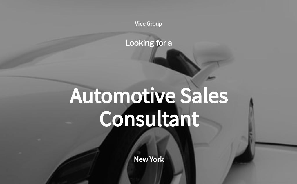 Automotive Sales Consultant Job Ad/Description Template