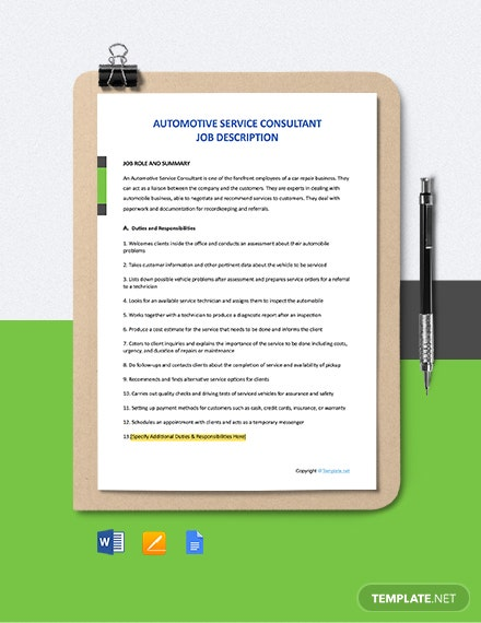 Free Automotive Service Consultant Job Description Template