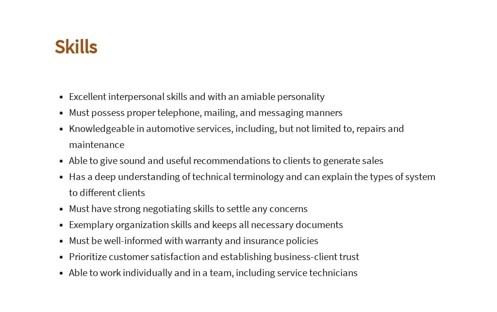 Free Automotive Service Consultant Job Ad/Description Template 4.jpe
