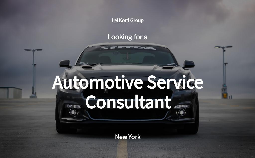 Automotive Service Consultant Job Ad/Description Template