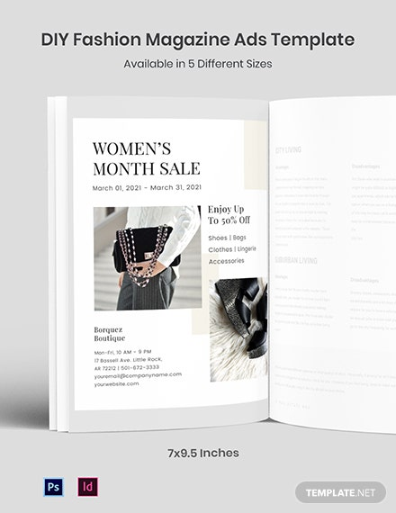 Free DIY Fashion Magazine Ads Template