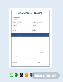 Free Sample Commercial Invoice Template