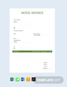 Free Sample Hotel Invoice Template