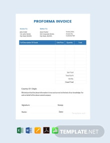 Free Sample Proforma Invoice Template