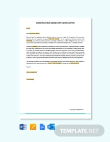 Free Construction Secretary Cover Letter Template