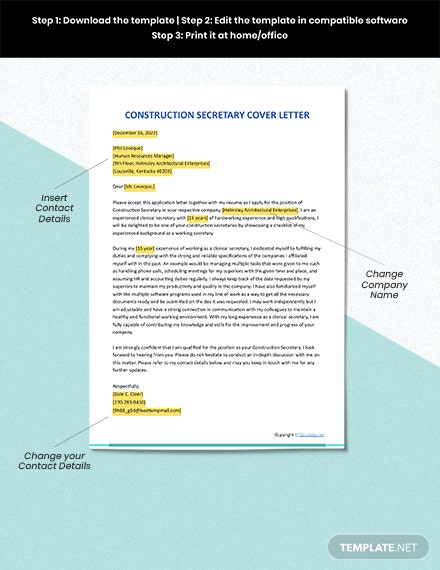 FREE Construction Secretary Cover Letter - Word | Apple ...