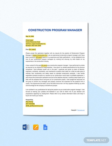 Construction Program Manager Cover Letter Template