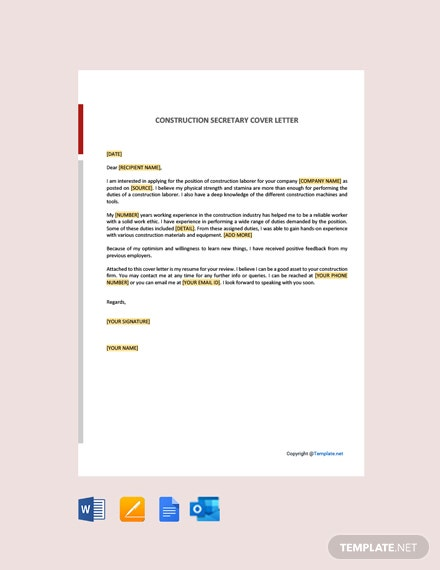 Free Construction Laborer Cover Letter Template