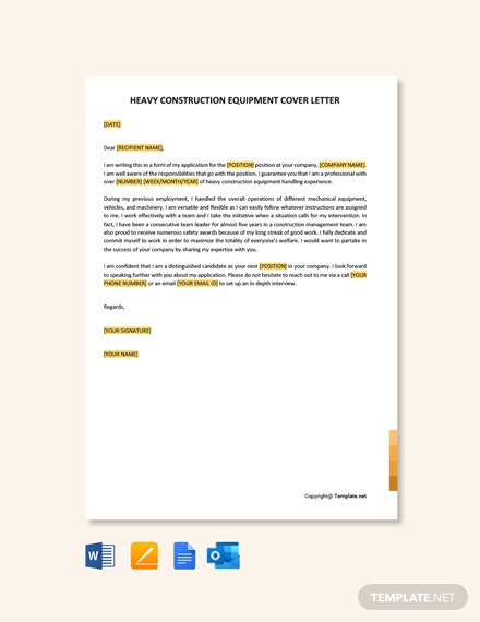 Heavy Construction Equipment Operator Cover Letter Template