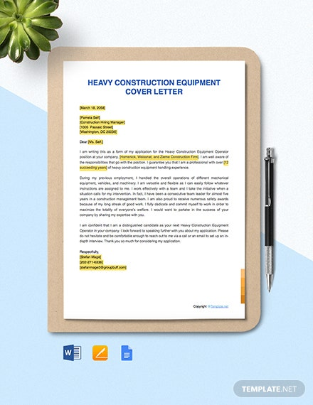 Free Heavy Construction Equipment Operator Cover Letter Template