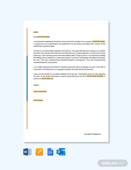 Pre Construction Manager Cover Letter Template