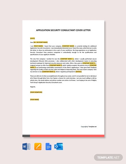 Free Application Security Consultant Cover Letter Template
