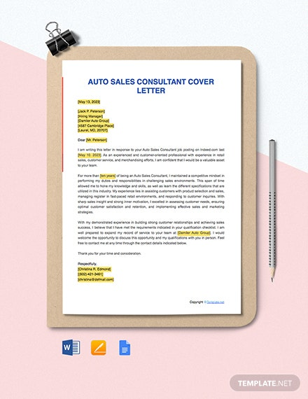 Free Auto Sales Consultant Cover Letter Template