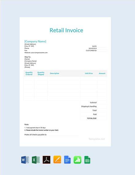 Free Retail Invoice Template