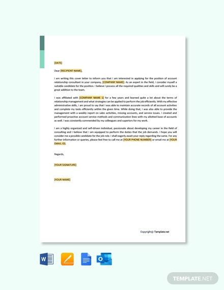 Free Account Relationship Consultant Cover Letter Template