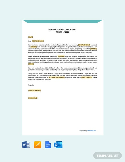 Free Agricultural Consultant Cover Letter Template