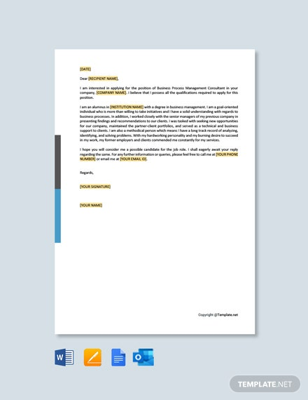 Free BPM Consultant Cover Letter Template