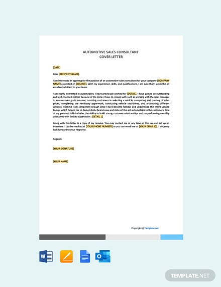 Free Automotive Sales Consultant Cover Letter Template