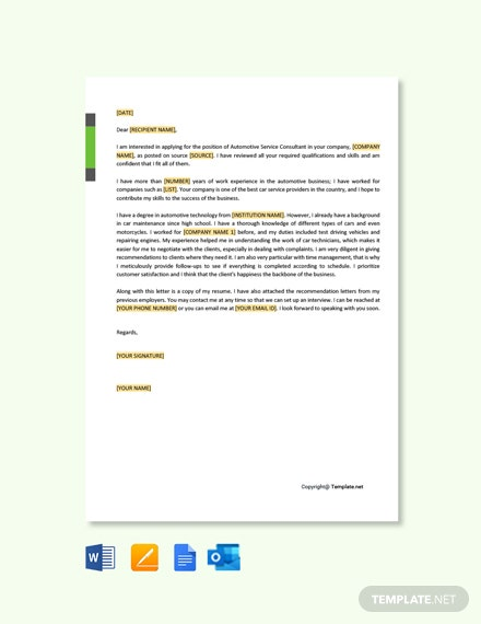 Free Automotive Service Consultant Cover Letter Template