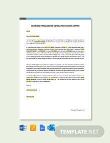 Free Business Intelligence Consultant Cover Letter Template