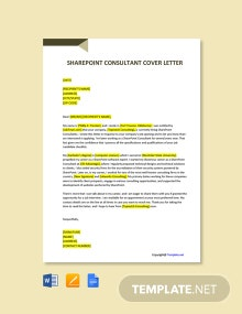 Free Sharepoint Consultant Cover Letter Template
