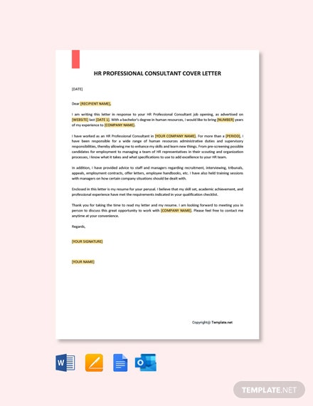 HR Professional Consultant Cover Letter Template
