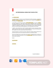 Free HR Professional Consultant Cover Letter Template