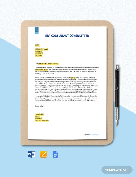 FREE ERP Consultant Cover Letter - Word | Apple Pages ...