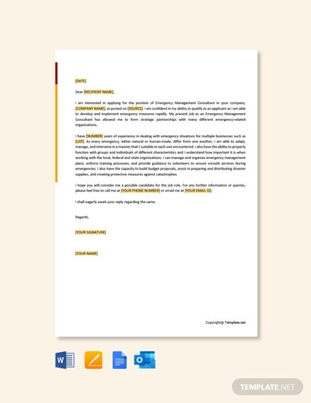 Free Emergency Management Consultant Cover Letter Template