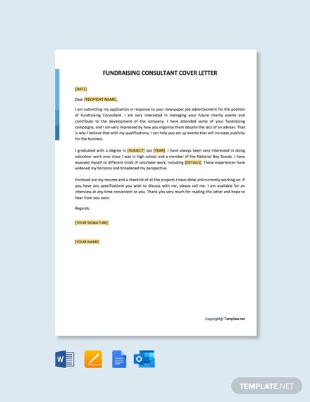 Free Fundraising Consultant Cover Letter Template