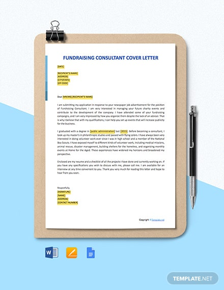 Free Fundraising Consultant Cover Letter Template - Word ...
