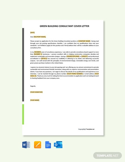 Free Green Building Consultant Cover Letter Template