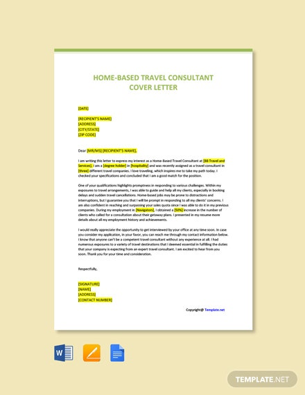 Free Home-Based Travel Consultant Cover Letter Template