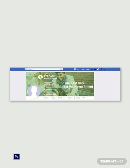 Free Pet Care Facebook Cover Page Template